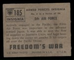 1950 Topps Freedoms War #185   5th Air Force  Back Thumbnail