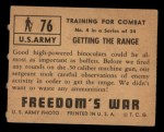 1950 Topps Freedoms War #76   Getting the Range   Back Thumbnail