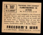 1950 Topps Freedoms War #107   Flame Throwers in Action  Back Thumbnail