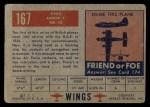 1952 Topps Wings #167   T. MK-20 Avro Anson Back Thumbnail