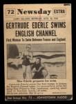 1954 Topps Scoop #72   Ederle Swims Channel  Back Thumbnail
