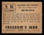 1950 Topps Freedoms War #84   Rin-Tin-Tin III   Back Thumbnail