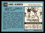1964 Topps #155  Lance Alworth  Back Thumbnail