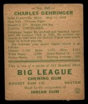 1938 Goudey Heads Up #265 Charley Gehringer  Back Thumbnail
