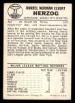 1960 Leaf #71  Whitey Herzog  Back Thumbnail