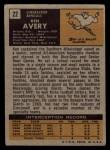 1971 Topps #22  Ken Avery  Back Thumbnail