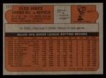 1972 Topps #117 YLW Cleo James  Back Thumbnail