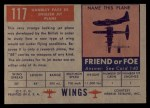 1952 Topps Wings #117   Handley Page 88 Back Thumbnail