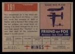 1952 Topps Wings #191   Vautour Back Thumbnail