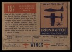 1952 Topps Wings #152   XF 90 Lockheed Back Thumbnail