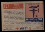 1952 Topps Wings #157   Breguet Type III Back Thumbnail
