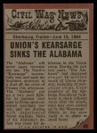1962 Topps Civil War News #69   Death in the Water Back Thumbnail