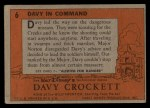 1956 Topps Davy Crockett #6   Davy In Command  Back Thumbnail