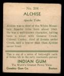 1933 Goudey Indian Gum #206  Alchise   Back Thumbnail