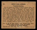 1941 Gum Inc Uncle Sam #46   Torpedo Bombing Back Thumbnail