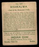 1933 Goudey Indian Gum #167  Kishkalwa   Back Thumbnail