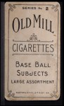 1910 T210-2 Old Mill Virginia League  Shaw  Back Thumbnail