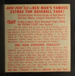 1953 Red Man #5 AL x Nellie Fox  Back Thumbnail
