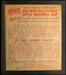 1955 Red Man #25 AL Sandy Consuegra  Back Thumbnail