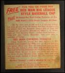 1955 Red Man #5 NL Johnny Logan  Back Thumbnail