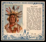 1952 Red Man American Indian Chiefs #22   Many Horns Front Thumbnail