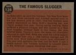 1962 Topps #138 GRN  -  Babe Ruth The Famous Slugger Back Thumbnail