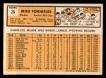 1963 Topps #28 BLU Mike Fornieles  Back Thumbnail