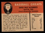 1961 Fleer #91  Dale Alexander  Back Thumbnail