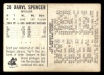 1962 Bell Brand Dodgers #20  Daryl Spencer  Back Thumbnail