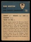1962 Fleer #78  Don Norton  Back Thumbnail