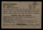 1952 Bowman Small #39  Emlen Tunnel  Back Thumbnail