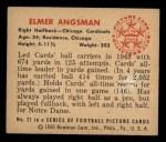 1950 Bowman #21  Elmer Angsman  Back Thumbnail