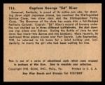 1941 Gum Inc. War Gum #116   Capt. George Ed Kiser Back Thumbnail
