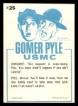 1965 Fleer Gomer Pyle #25   No Not for Cleaning Your Toenails Back Thumbnail