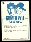 1965 Fleer Gomer Pyle #5   Pyle Am I in Good Voice Today? Back Thumbnail