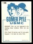1965 Fleer Gomer Pyle #38   Look Sergeant Guess Who Won? Back Thumbnail