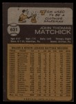 1973 Topps #631  Tom Matchick  Back Thumbnail