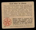 1950 Bowman Wild Man #19   Civil War in China Back Thumbnail