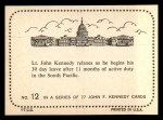 1964 Topps JFK #12   Lt. Kennedy Relaxes Back Thumbnail