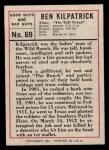 1966 Leaf Good Guys Bad Guys #69  Ben Kilpatrick  Back Thumbnail