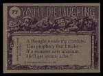 1973 Topps You'll Die Laughing #77   No thanks I quit smoking Back Thumbnail