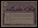 1973 Topps You'll Die Laughing #72   Burp! Excuse me! Back Thumbnail