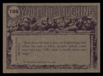 1973 Topps You'll Die Laughing #108   Does this mean we're engaged? Back Thumbnail