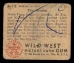 1949 Bowman Wild West #12 A  The Alamo Back Thumbnail