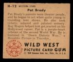 1949 Bowman Wild West #12 H Pat Brady  Back Thumbnail