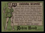 1957 Topps Robin Hood #42   Choosing Weapons Back Thumbnail