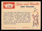 1960 Fleer Spins and Needles #15  Andy Williams  Back Thumbnail