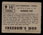 1950 Topps Freedoms War #147   Running Fire  Back Thumbnail
