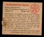 1950 Bowman #135  Washington Serini  Back Thumbnail