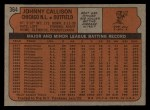 1972 Topps #364  Johnny Callison  Back Thumbnail